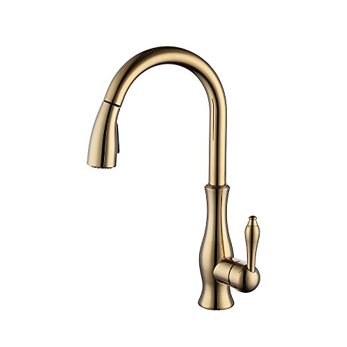 Lever Bar Kitchen (KES Brass Singel Lever High Arc Pull Down Kitchen Faucet with Retractable Pull Out Wand, Swivel Spout, Titanium Gold, L6915-4)