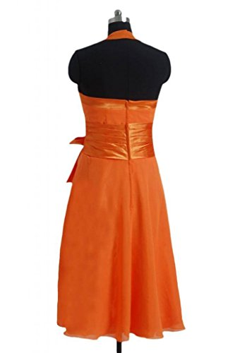 Short Sash Orange Dress Pleated pink Bridesmaid Halter Dress Party DaisyFormals W 21 BM8529 6gqZHZ