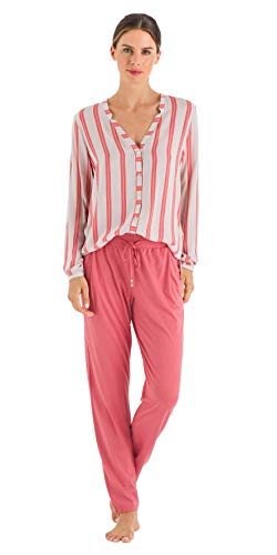 HANRO Women's Sleep and Lounge Woven Long Sleeve Shirt, Ceramic Stripe Small