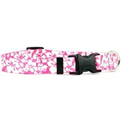 """Island Floral Pink Dog Collar - Size Small 10"""" to 14"""" Long - Made In The USA"""