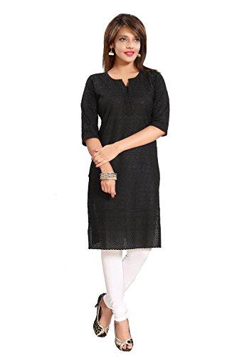 Queenshield Chikankari Kurtis for Women Cotton Chikan Kari Kurta Kurti Indian Dress for Girls Ladies - Black