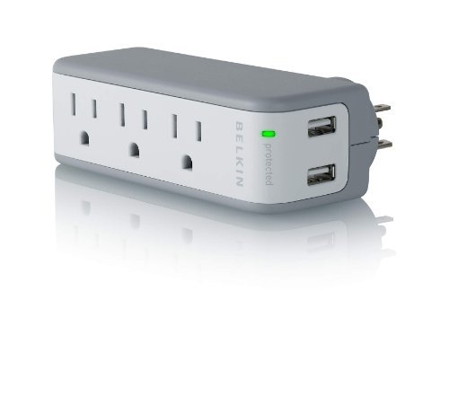 Belkin-3-Outlet-Mini-Travel-Swivel-Charger-Surge-Protector-with-Dual-USB-Ports-5-Charging-Outlets-Total-1-AMP-5-Watt-Style-1-AMP-Size-3-Outlet-PC-Personal-Computer