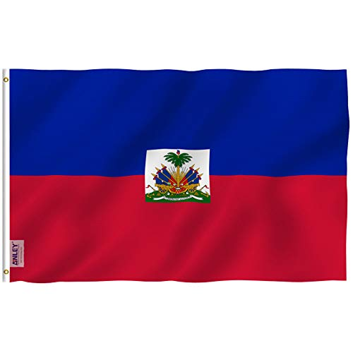 Anley [Fly Breeze 3x5 Foot Haiti Flag - Vivid Color and UV Fade Resistant - Canvas Header and Double Stitched - Haitian National Flags Polyester with Brass Grommets 3 X 5 Ft
