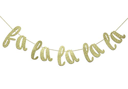 - Fa La La La La Banner Sign Gold Glitter Decorations for Christmas Be Merry Holiday Home Christmas Tree Decor Photo Booth Props