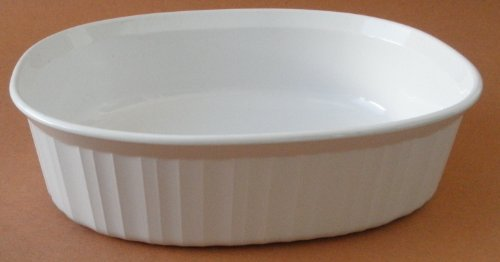 Fluted Oval Casserole - Corning Ware F-12-B 1.8 Liter French White Casserole Ovenware Dish - No Lid