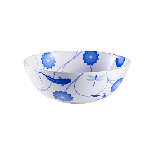ZENS Bone China Noodle Soup Bowl, 51oz Large Pasta Salad Bowls, Deep Blue and white Floral Mixing Serving Bowl for Wedding Housewarming Gifts