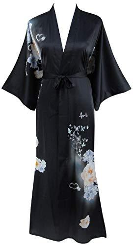 Ledamon Women's Silk Satin Kimono Long Robe -...
