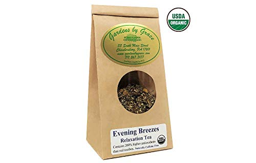 Evening Breezes Relaxation Loose Leaf Tea Blend with Herbs | Helps Stress Reduction, Focus, Sleep| Gift for Women, New Mom, Birthday | Organic, Vegan, 4 oz