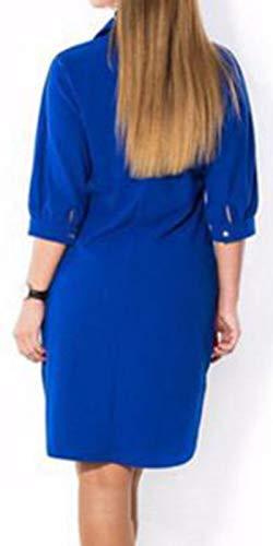 Tops V Shirt Bleu Blouse Femme T Chemisier Bouton Col Casual PY8T8p