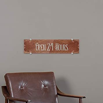 5-Pack Victorian Card Premium Brushed Aluminum Sign 24x6 Open 24 Hours CGSignLab