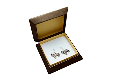 - Briard, silver-plated earrings with an image of a dog, ArtDog
