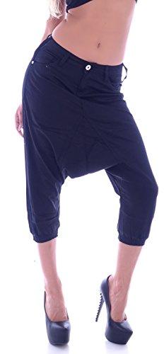 Damen Capri Jeans Boyfriend 3/4 Hose Baggy Haremshose S 36 M 38 L 40 XL 42 Khaki 6LBAfU