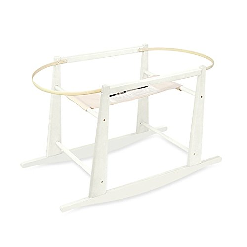 Jolly Jumper Rocking Wooden Moses Basket Stand, Antique White 258