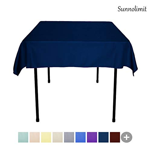 (Sunnolimit Tablecloth - 54 x 54 Inch -Navy Blue-Square Polyester Table Cloth, Wrinkle,Stain Resistant - Great for Buffet Table, Parties, Holiday Dinner &)