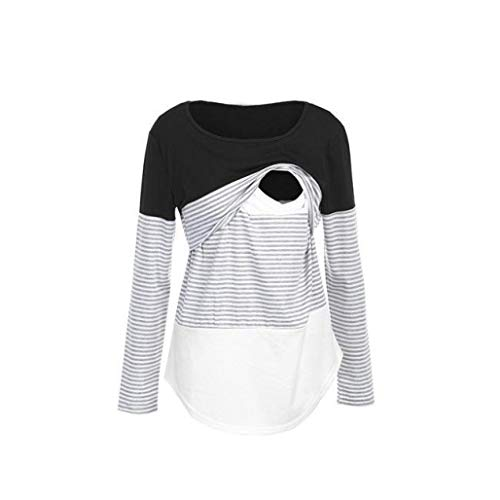 Price comparison product image Sttech1 Maternity Long Sleeve Multi-Functional Breastfeeding Striped Print Top Blouse Clothes for Pregnant Women Mom, Easy for Nursing Baby Feed