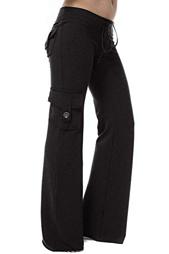 HSRKB Womens Yoga Pants Wide Leg Sweatpants Bootleg Pants with Muti Pockets Black (Best Bootlegs Of All Time)