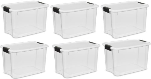 Sterilite 19859806, 30 Quart/28 Liter Ultra Latch Box, Clear with a White Lid and Black Latches, 6-Pack (Plastic Containers Tote)