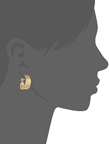 """Anne Klein """"Classics"""" Gold-Tone Textured Hoop Clip-On Earrings"""