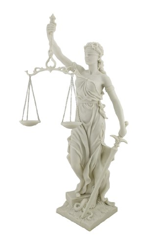 Top Collection 12.5 Inch Lady Justice Statue Sculpture. Premium Resin - White Marble Finish. ()