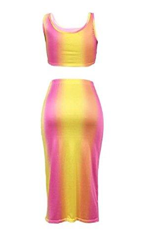 Bassa Strappato A fori Vestito Magro Gradiente Coolred Pantaloni Gonne Sexy Rosa donne Rossa Vita Arcobaleno gtqnH0Xgw