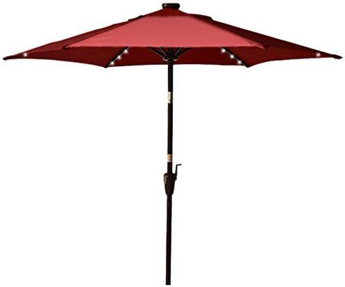 Sundale Outdoor 7.5 Ft Solar Powered 30 LED Lighted Patio Umbrella Table Market Umbrella with Push Button Tilt for Garden, Deck, Backyard, Pool, Polyester Canopy Burgundy
