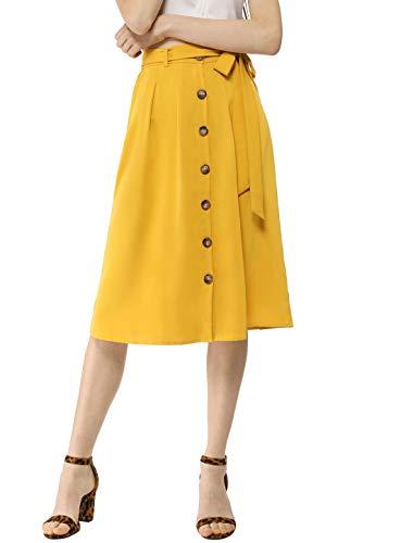 (Allegra K Women's High Waist Button Front Belted Casual A-Line Midi Skirt Yellow M (US)