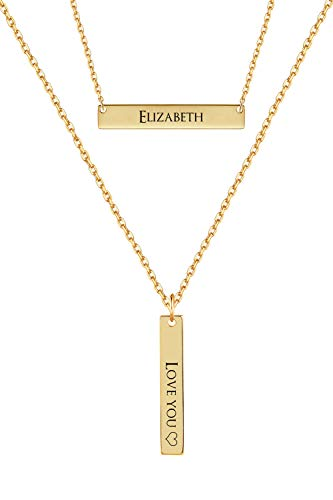 MeMoShe Personalized Bar Necklace, 18K Gold Plated Custom Name Engravable Necklace with Adjustable Chain Charm Gift for Bridesmaid (White Plate 18ct Gold)