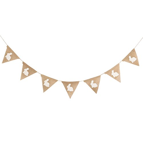 Tinksky Rabbit Shape Hessian Bunting Banner Easter Festival Banner Baby Shower Party Favors (Brown) -