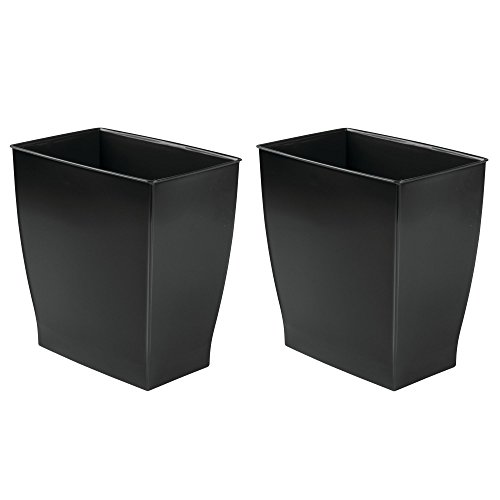 mDesign Rectangular Trash Can Wastebasket, Small Garbage Container Bin for Bathrooms, Powder Rooms, Kitchens, Home Offices - Shatter-Resistant Plastic, 2 Pack - Black