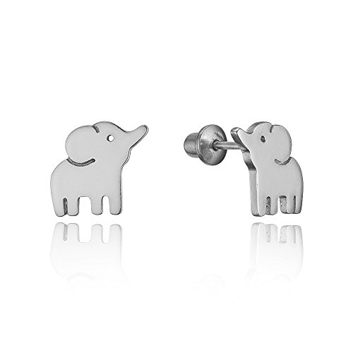 Screw Ball Link (925 Sterling Silver Rhodium Plated Baby Elephant Screwback Baby Girls Earrings)