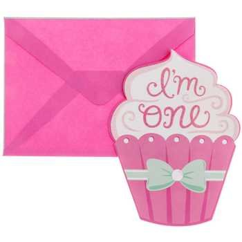 Pink and Green First Birthday Cupcake Invitations Party Supplies ()