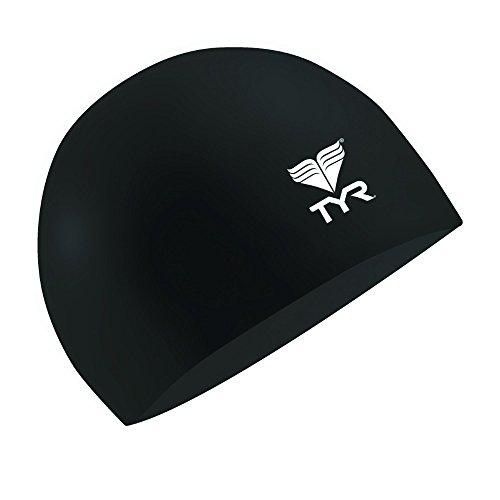 (TYR Latex Swim Cap, Black)