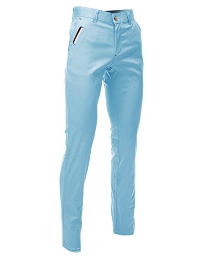 FLATSEVEN Mens Slim Fit Chino Pants Trouser Premium Cotton Blend (CH198) Light Blue, Size L