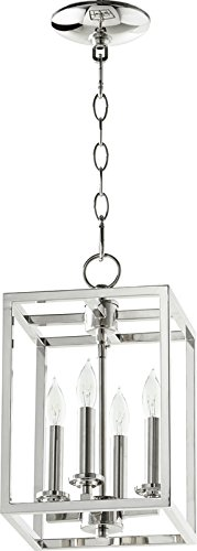 Quorum Four Light Entry Pendant (Nickel Lantern Pendant)