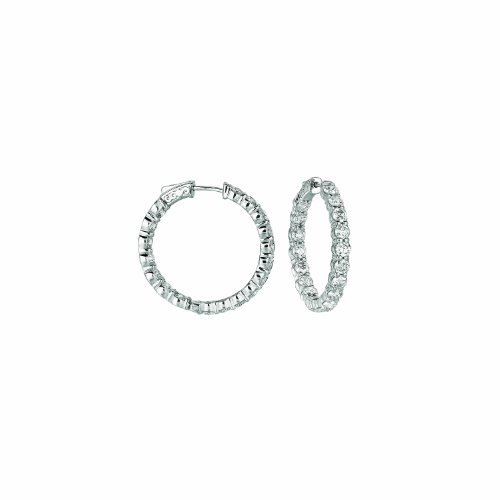 14K White Gold Hoop Earrings (patented snap lock) - 7.2ctw. Diamond
