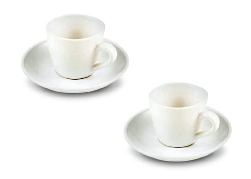 Set of 2, 3 Oz. White Porcelain Cappuccino Cup & Saucer Set