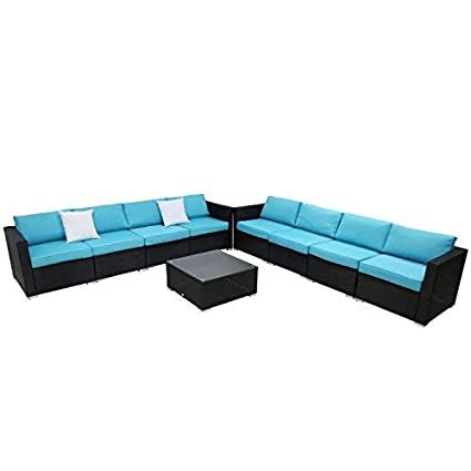 9pc Outdoor Sectional Sofa Set Rattan Wicker Patio Furniture Sofas With Washable Cushions Modern Glass Coffee Table