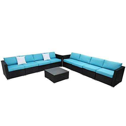 9PC Outdoor Sectional Sofa Set Rattan Wicker Patio Furniture Sofas with Washable Cushions & Modern Glass Coffee Table (Sectional Piece Outdoor 9)