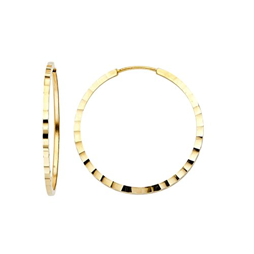 TGDJ 14K Yellow Gold 1.5mm Square Tube Hoop Earrings - (Diameter - 25 MM) by Top Gold & Diamond Jewelry