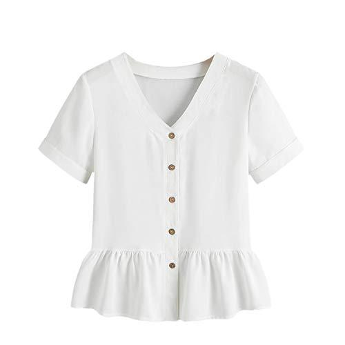 Verdusa Women's Casual V Neck Single Breasted Ruffle Hem Peplum Blouse Tops White XL