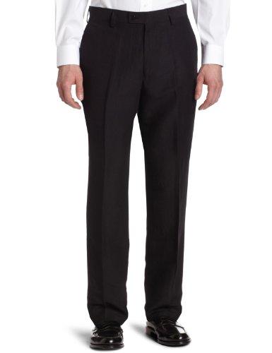 Louis Raphael Men's Modern Fit Linen Blend Flat Front Dress Pant, Black, 32x30 (Black Pants Linen Mens)