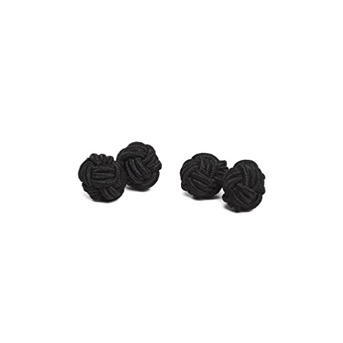 Men Silk Fabric - Jacob Alexander Pair of Solid Color Silk Knot Cufflinks - Black