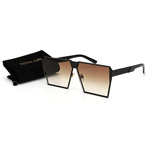 ROYAL GIRL Classic Square Women Sunglasses Retro Oversize Metal Frame Flat Top Sun Glasses (Black Brown Gradient, - Glasses For Funky Women