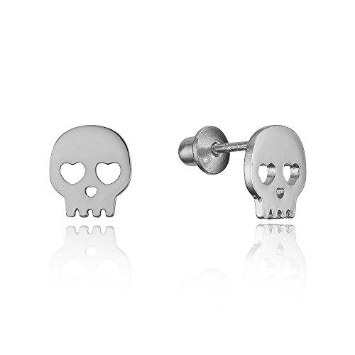 925 Sterling Silver Rhodium Plated Skull Cubic Zirconia Screwback Baby Girls Earrings