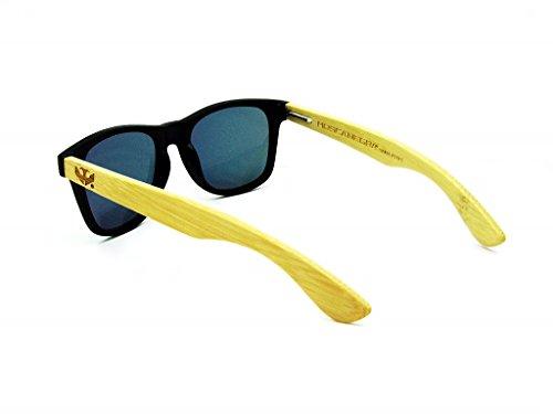 MIX de Gafas SOLID modelo NEGRA madera sunglasses MOSCA wood BLACK xvqwBS