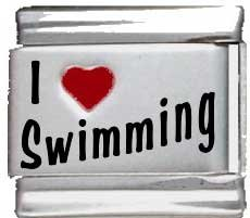 I Heart Swimming Red Heart Laser Italian Charm