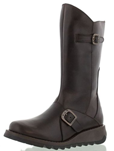 Mes London Brown Leather Boots Dark Mid Calf Fly Womens 2 C7SFSpq