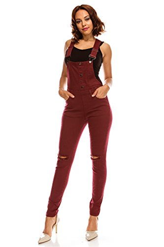 TwiinSisters Women's Distressed Stretch Twill Overalls Size Small to 3X Multi Styles (3X, Burgundy #rjho926)