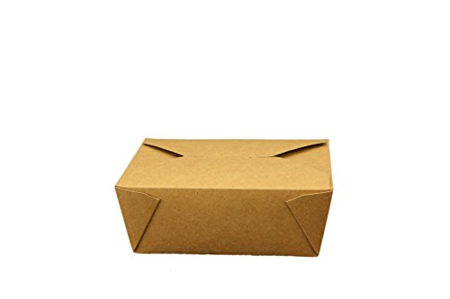 Take Out Containers Easy Fold & Close (Pack of 50) Box #8 Kraft Paper with Poly-coated Inside To-go Containers [48oz - 5.9