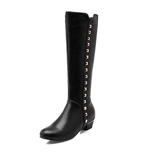 Low Women's Heels Solid PU Boots Black High Zipper WeiPoot top BS1nxTBqw